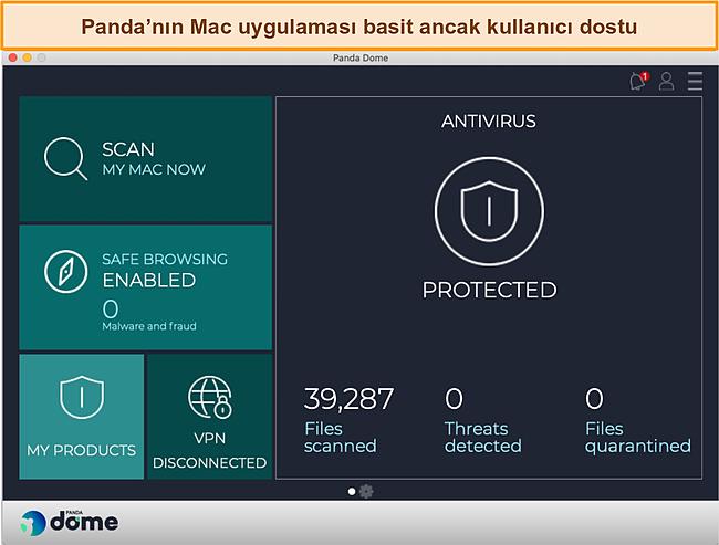 Panda'nın Mac uygulaması kontrol panelinin ekran görüntüsü