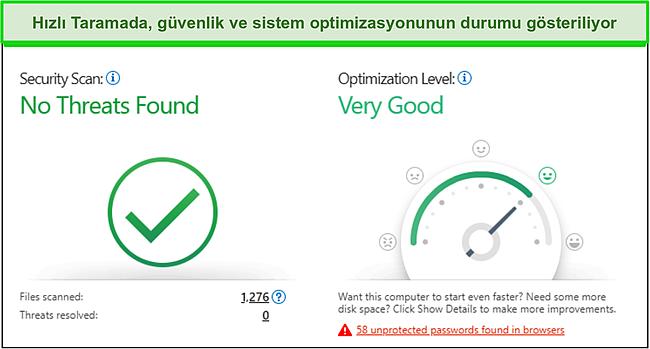 Güvenlik ve sistem optimizasyon bilgilerini gösteren Trend Micro hızlı taramanın ekran görüntüsü