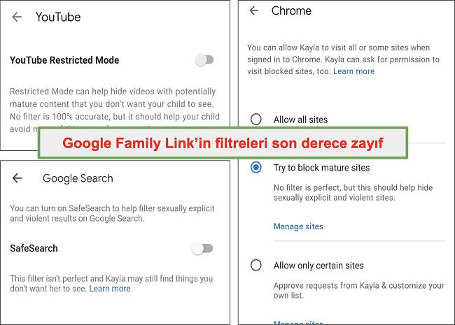 Google Family Link'in oldukça zayıf filtrelerinin ekran görüntüsü
