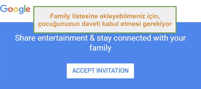 Google Family Link'in katılma davetinin ekran görüntüsü