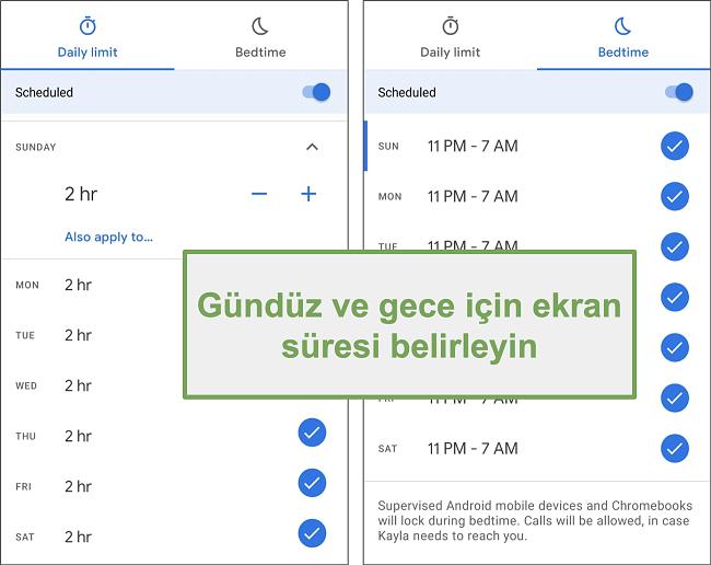 Google Family Link'in her gün ve gece için ekran süresi ayarlarının ekran görüntüsü