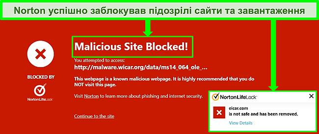 Знімок екрана Norton 360, що блокує шкідливі елементи