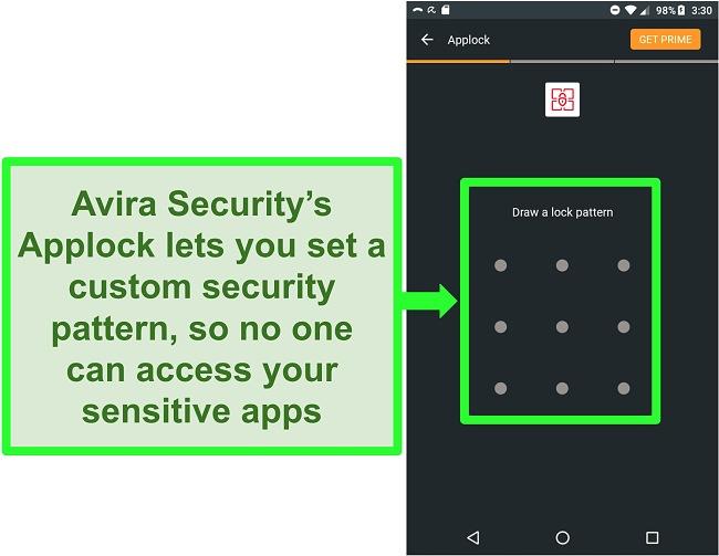 Screenshot of Avira's applock feature on Android