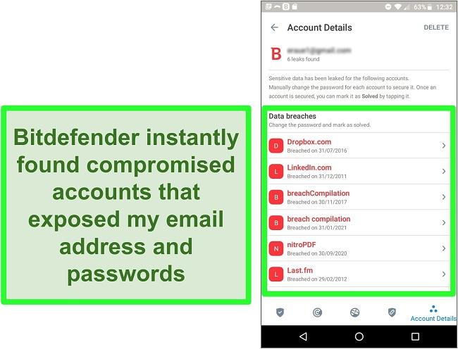 Screenshot of Bitdefender's data breach scanner finding multiple exposed accounts