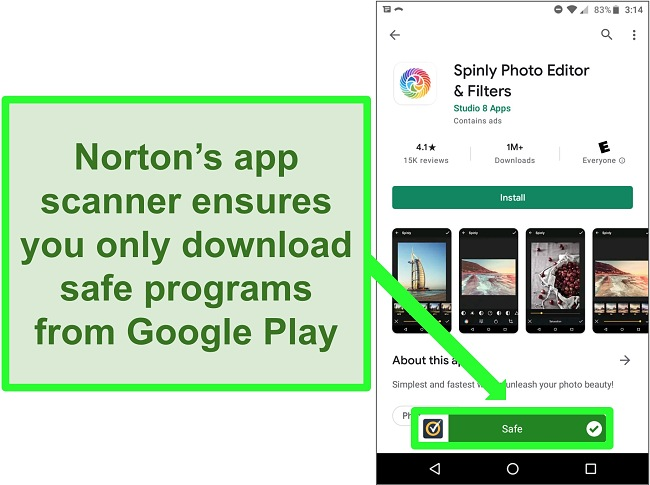 Screenshot of an app in the Google Play store being flagged as