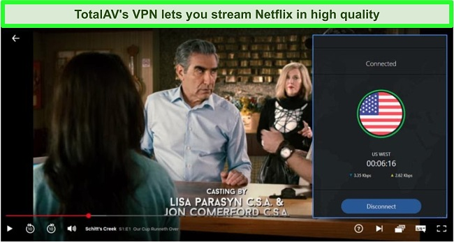 Screenshot of Schitt's Creek streaming on Netflix while TotalAV is connected to a server in the US