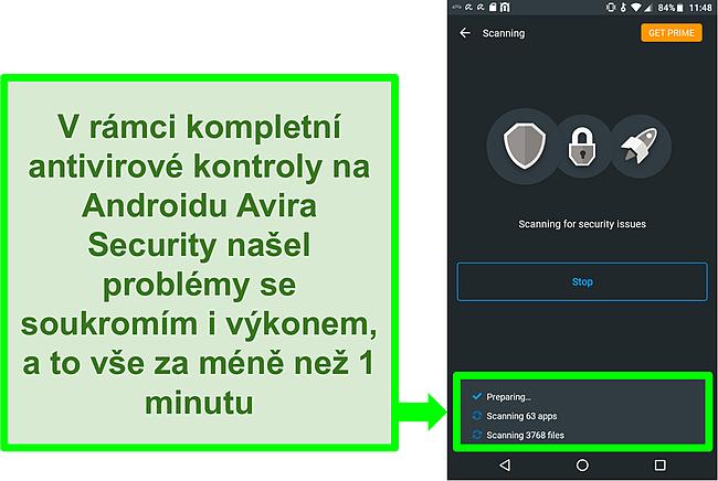 Screenshot kontroly průběhu pomocí Avira Security zdarma pro Android