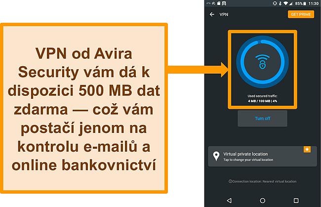 Screenshot připojení Avira Security k Android VPN zdarma