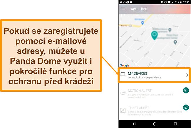 Screenshot systému proti krádeži Panda Dome na mobilním zařízení Android