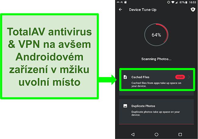 Screenshot funkce čištění zařízení v TotalAV Antivirus a VPN pro Android