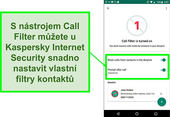 Snímek obrazovky s funkcí Filtr hovorů aplikace Kaspersky Internet Security na mobilním zařízení Android