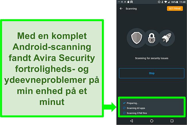 Skærmbillede af en scanning på fremskridt ved hjælp af Avira Security gratis til Android