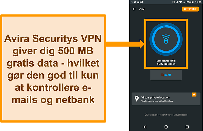 Skærmbillede af Avira Securitys gratis Android VPN tilsluttet
