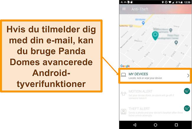 Skærmbillede af Panda Dome's tyverisikringssystem på en Android-mobilenhed