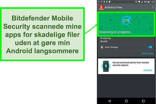 Skærmbillede af Bitdefender Mobile Security gratis version, der scanner en Android-mobilenhed