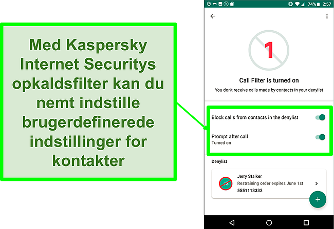 Skærmbillede af Kaspersky Internet Securitys opkaldsfilterfunktion på en Android-mobilenhed