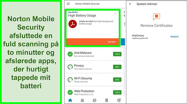 Skærmbillede af en scanning på Android ved hjælp af Norton Mobile Security