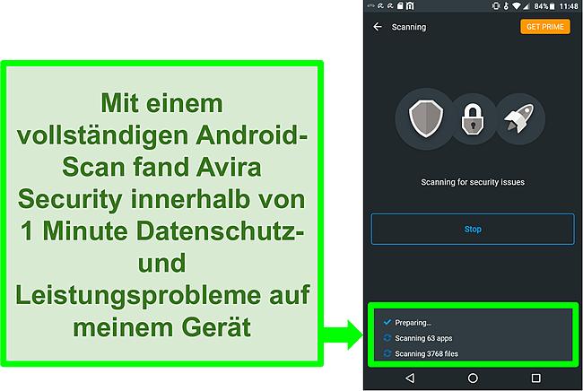 Screenshot eines Scans über den Fortschritt mit Avira Security kostenlos für Android