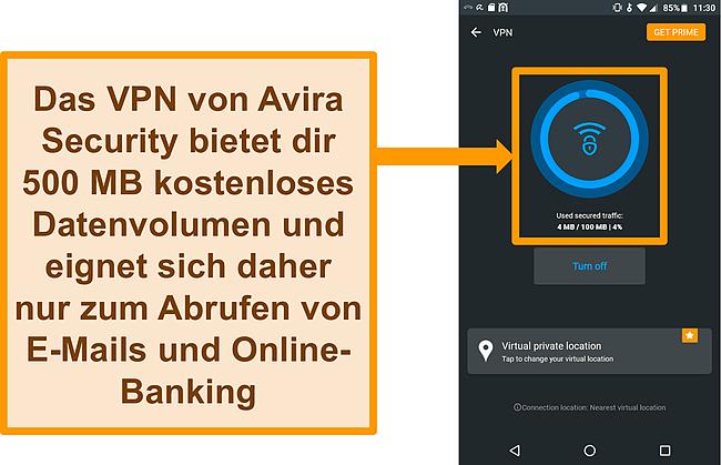 Screenshot von Avira Securitys kostenlosem Android-VPN verbunden