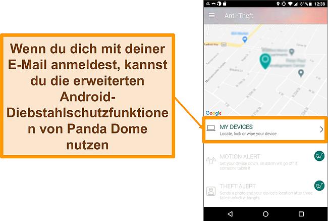 Screenshot des Anti-Diebstahl-Systems von Panda Dome auf einem Android-Mobilgerät