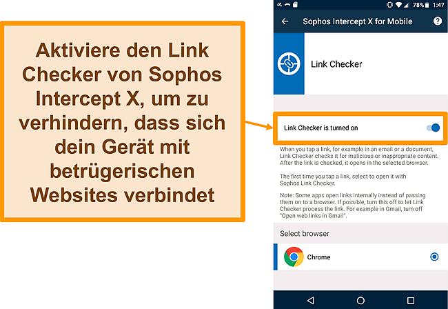 Screenshot des Link Checkers in der kostenlosen Android-App von Sophos Intercept X