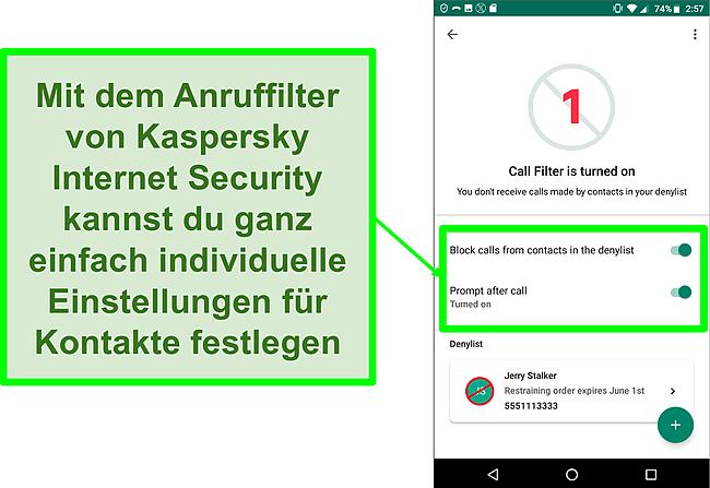 Screenshot der Anruffilterfunktion von Kaspersky Internet Security auf einem Android-Mobilgerät