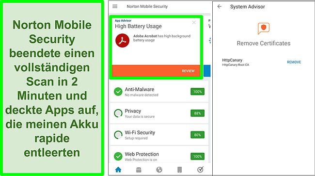 Screenshot eines Scans unter Android mit Norton Mobile Security