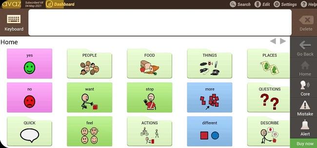 Screenshot of the Avaz Lite app