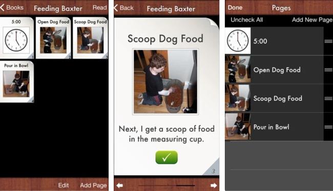 Screenshots of the I Create... Social Skills Stories app