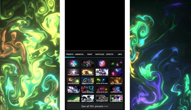 Screenshots of the Magic Fluids app