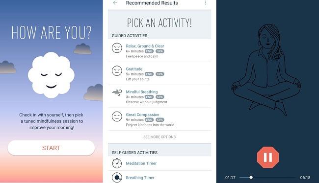 Screenshots of the MyLife Meditation: Mindfulness app