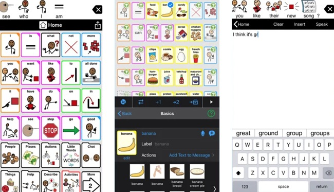 Screenshots of the Proloquo2Go app