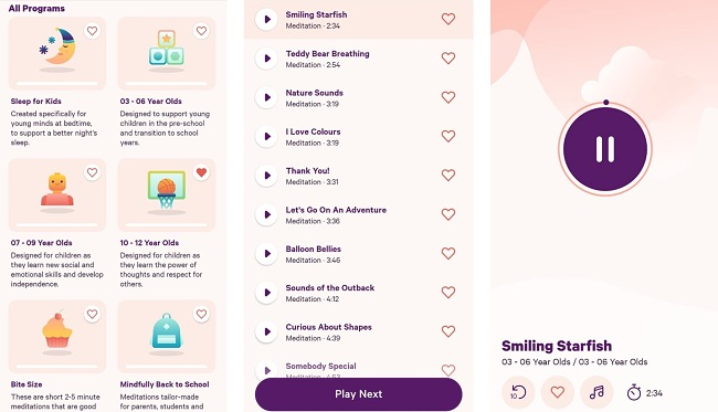 Screenshots of the Smiling Mind app