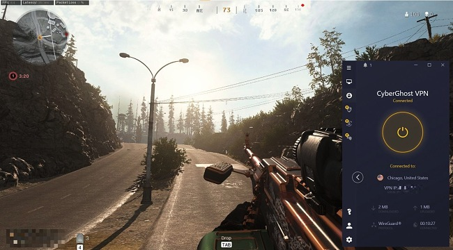 Screenshot of Call of Duty: Warzone with a CyberGhost connection.