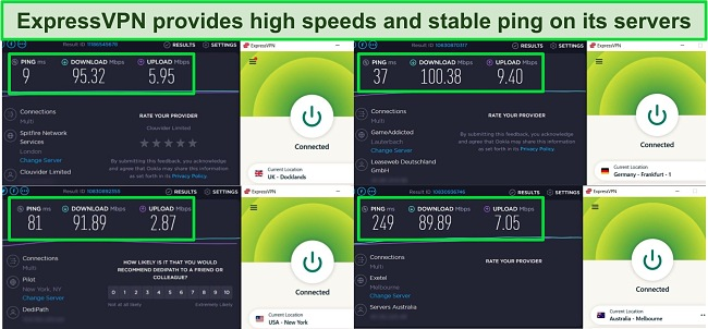 Screenshot of speed tests carried out on 4 ExpressVPN servers.