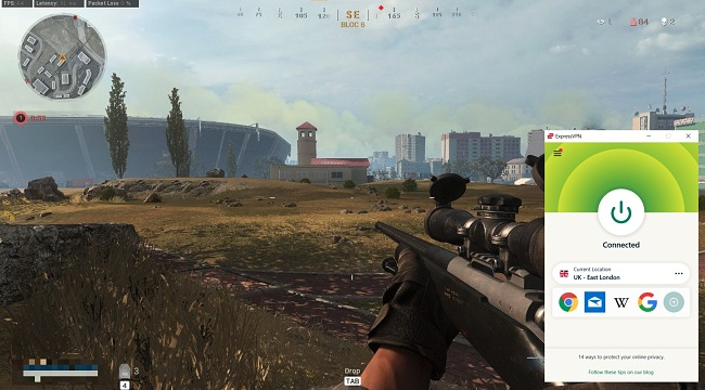 Screenshot of Call of Duty: Warzone game with an ExpressVPN connection.