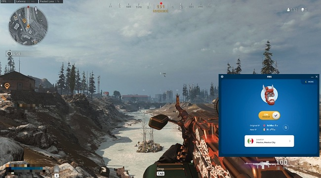 Screenshot of Call of Duty: Warzone with a HMA connection