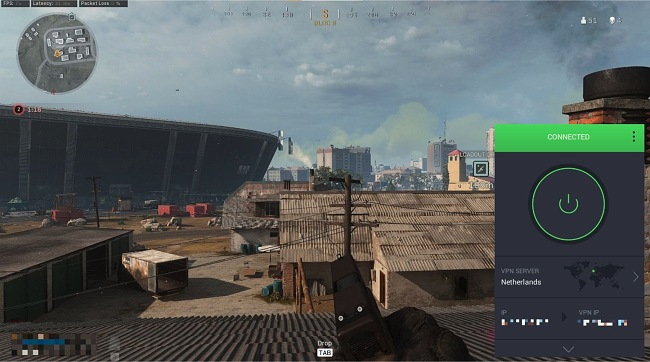 Screenshot of Call of Duty: Warzone with a PIA connection
