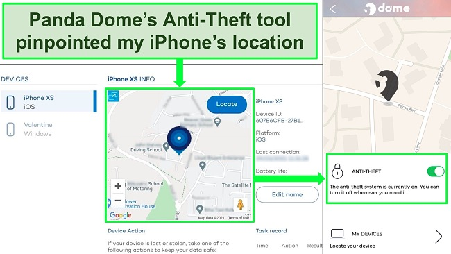 Screenshot of Panda's anti-theft tool active on the iOS app with the precise location show on Panda's device location website.