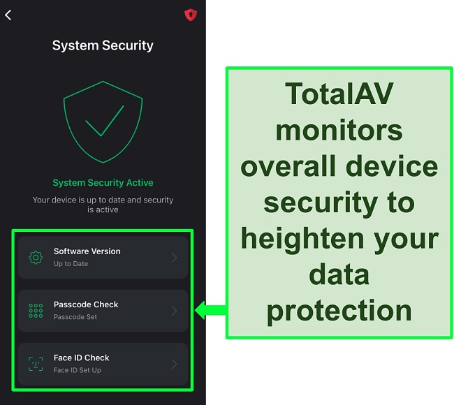 Screenshot of TotalAV's iOS app with System Security feature open and security tools highlighted.