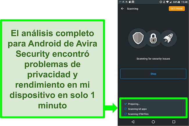 Captura de pantalla de un escaneo en progreso usando Avira Security gratis para Android
