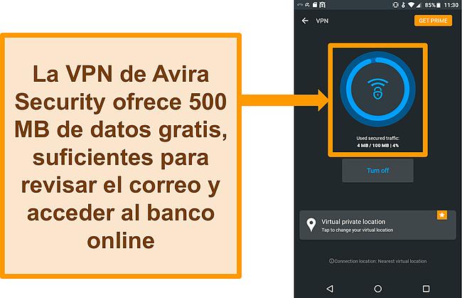 Captura de pantalla de la VPN de Android gratuita de Avira Security conectada