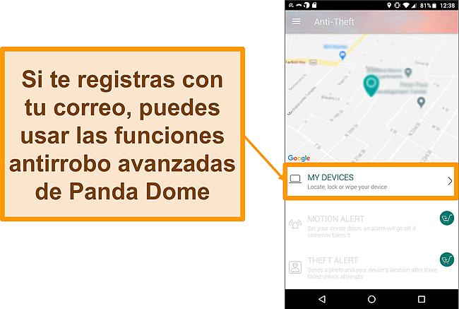 Captura de pantalla del sistema antirrobo de Panda Dome en un dispositivo móvil Android