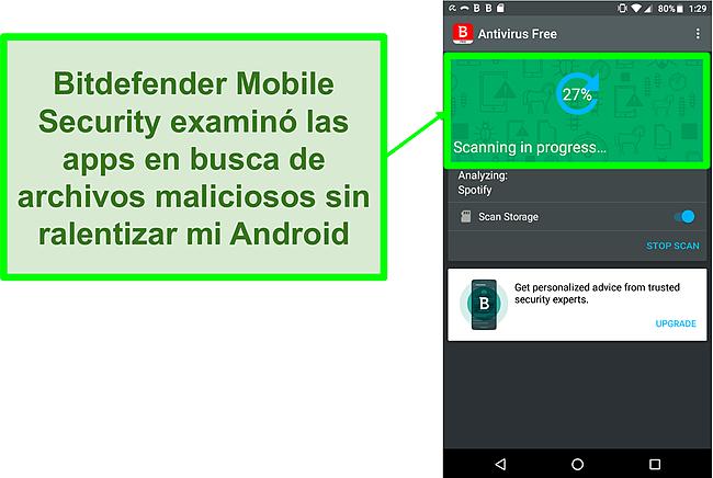 Captura de pantalla de la versión gratuita de Bitdefender Mobile Security escaneando un dispositivo móvil Android