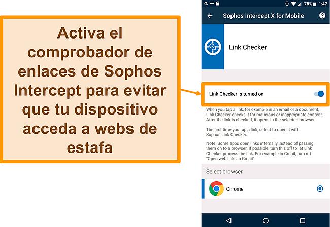 Captura de pantalla de Link Checker en la aplicación gratuita para Android de Sophos Intercept X