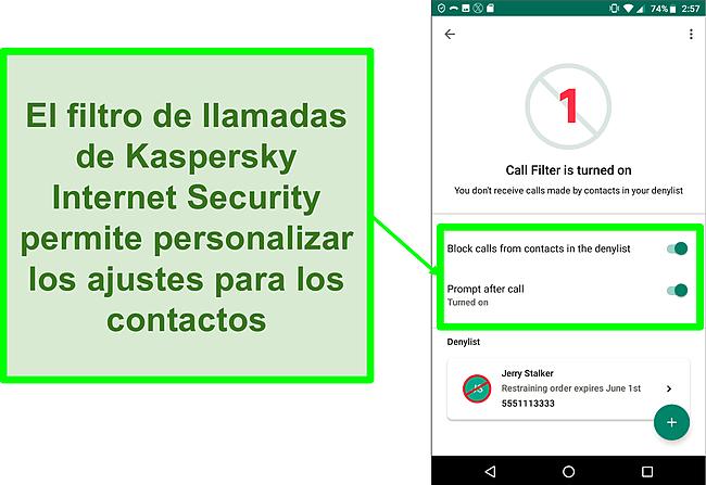 Captura de pantalla de la función Filtro de llamadas de Kaspersky Internet Security en un dispositivo móvil Android