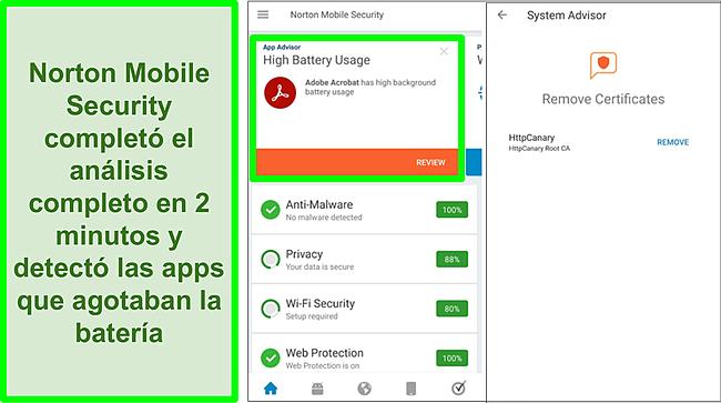 Captura de pantalla de un escaneo en Android usando Norton Mobile Security