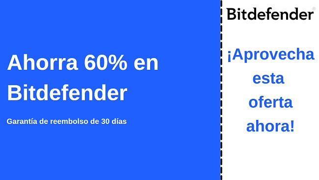 Cupón de antivirus de Bitdefender con hasta un 60% de descuento con garantía de devolución de dinero de 30 días