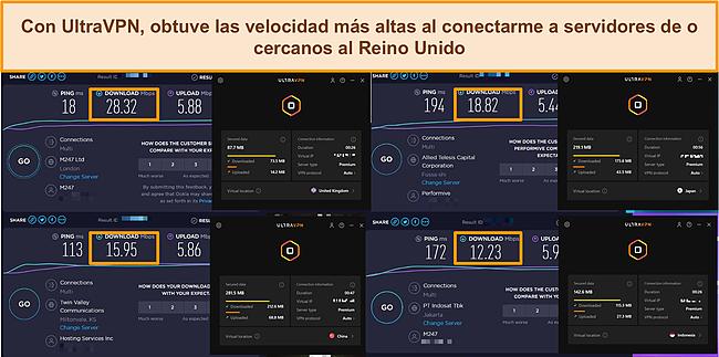 Capturas de pantalla de 4 pruebas de velocidad realizadas en diferentes servidores UltraVPN