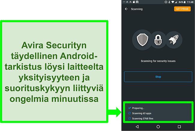 Kuvakaappaus etenemisestä käyttämällä Androidin Avira Security ilmaiseksi